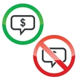 Dollar message permission signs set vector image vector image