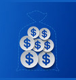 Dollar Signs and Money Bag Blue Background vector image