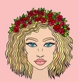 doodle girls face womens portrait with wreath of vector image