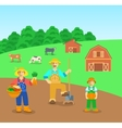 Farming family in farm field flat background vector image