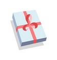 flat blue gift box present with red bow icon vector image