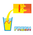 Fresh juice Pour in a glass of fresh juice from vector image vector image