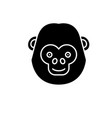 funny chimpanzee black icon sign on vector image