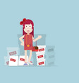 girl with shopping bag and box with sale label vector image vector image