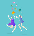 girls graduated vector image