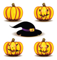 halloween pumpkins and hat vector image vector image