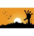 Hand zombie and bat halloween backgrounds vector image
