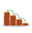 Isolated cartoon gold coin investment growth vector image