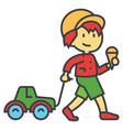 kid carries a toy car for the rope with ice cream vector image vector image
