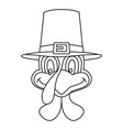 line art black and white thanksgiving turkey head vector image vector image