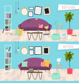 living room furniture before and after cleaning vector image vector image