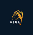 logo girl dace silhouette style vector image