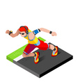 Marathon Runners Fitness Working Out 3D Flat Image vector image