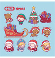 Merry christmas cute kawaii character vector image