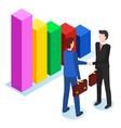 partners on meeting businessmen and infochart vector image