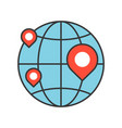 pin on globe location or branch of business icon vector image vector image