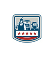 Power Washer Worker Truck Train Crest Retro vector image vector image