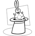 rabbit in hat cartoon for coloring book vector image