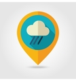 Rain Cloud flat pin map icon Downpour rainfall vector image vector image