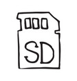 sd card for external memory hand drawn outline vector image