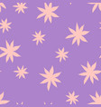 seamless background with pink daisy over lilac vector image