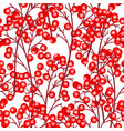 seamless pattern branches with red berries vector image vector image
