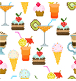 seamless pattern with drinks and dessert vector image