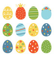 set collection of colorful easter eggs vector image vector image