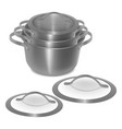 set of empty steel pots with lids isolated image vector image vector image