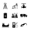 Set of oil icons - barrel gas station rigs vector image
