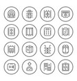 set round line icons of elevator vector image