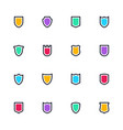 Shield icon set simple flat symbols guard