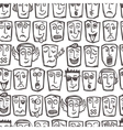 Sketch emoticons seamless pattern vector image vector image