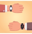 Smart watch on businessman hand of a vector image vector image