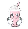 smirking raspberry bubble tea character cartoon vector image vector image