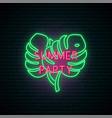 summer party neon signboard bright neon monstera vector image vector image