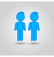 Two male stick figures standing beside each other vector image