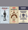 vintage wild west vertical banners vector image vector image