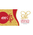 Voucher template with gold gift box certificate