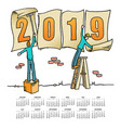 whimsical drawing 2019 calendar vector image vector image