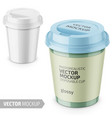 white glossy disposable cup with lid template vector image