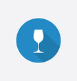 wineglass Flat Blue Simple Icon with long shadow vector image