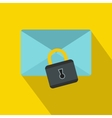 Blue envelope with padlock icon flat style vector image