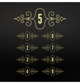 Numbers set Calligraphic Frame in Linear Style vector image