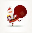 santa claus with sack full of gift and present box vector image
