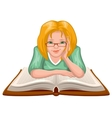 Woman reading book Young woman in glasses placed vector image