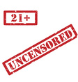 21 and uncensored restriction sign vector image vector image