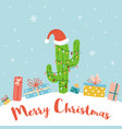 alternative christmas concept cactus christmas vector image