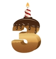 Birthday cake font - number three vector image vector image