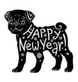 black pug silhouette with hand drawn lettering vector image vector image